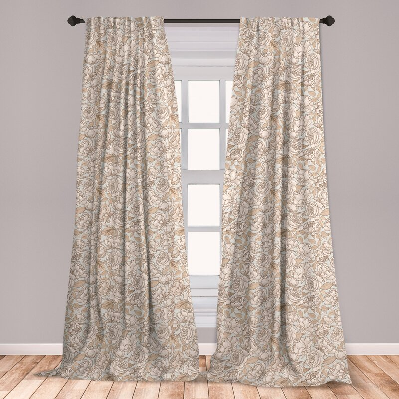 Beige Curtains for wooden room