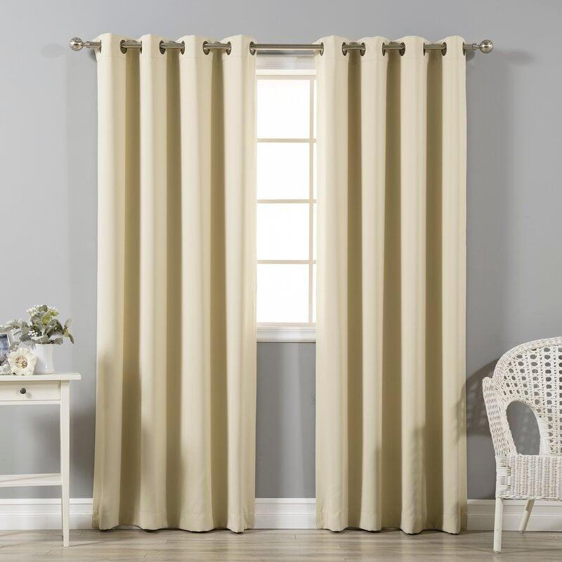 Beige color curtains for orange walls