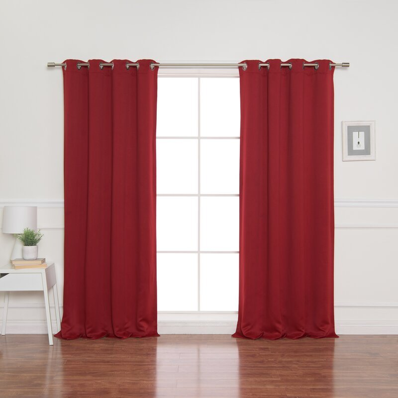 Bright Red curtains for light purple interior