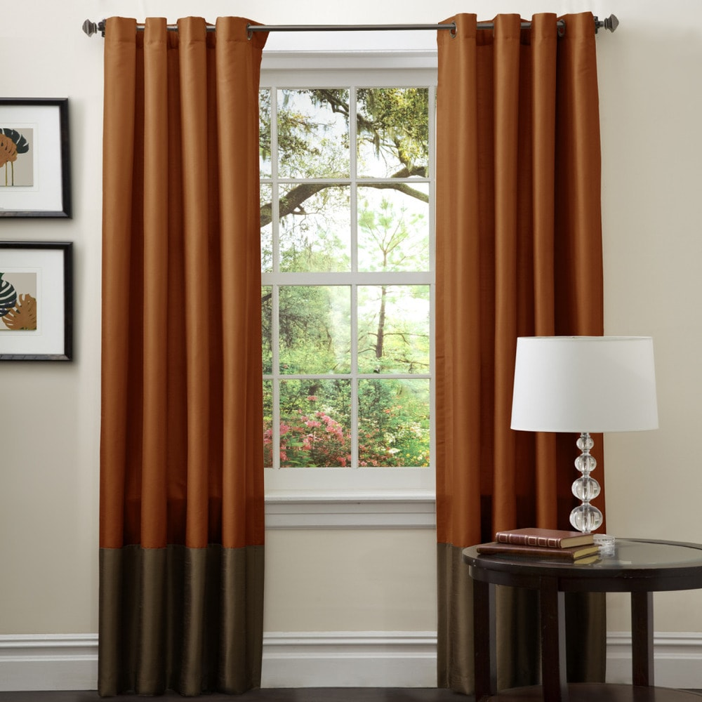 Brown curtains for wooden living room