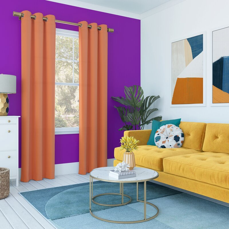Candy Orange curtains with purple wall