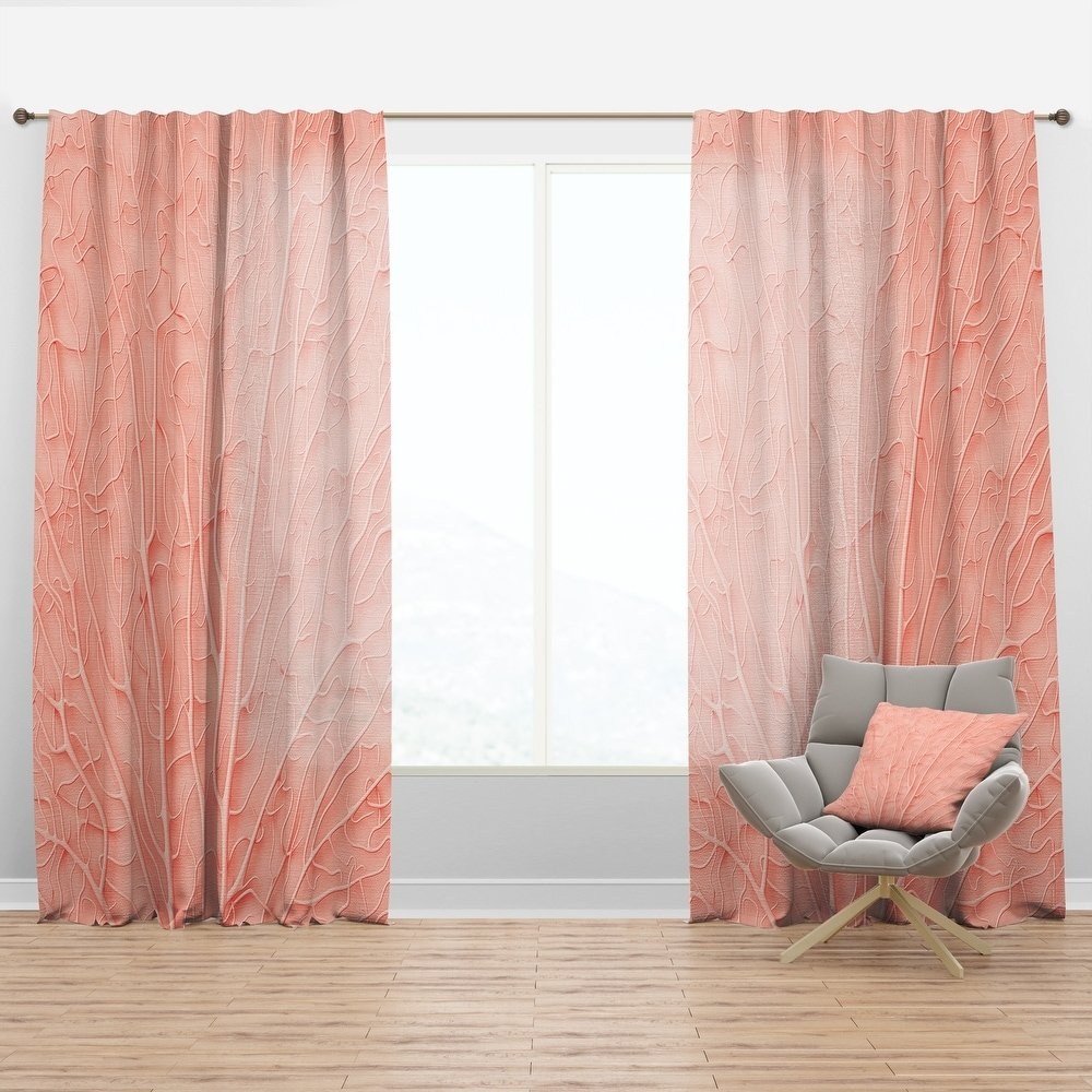 Coral pink with wood walls interior
