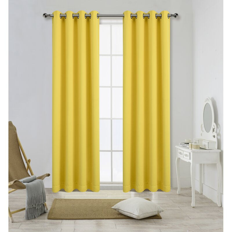 Daffodils Yellow curtains for purple color wall