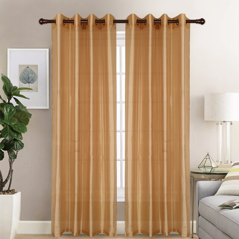 Gold curtains combination with purple wall