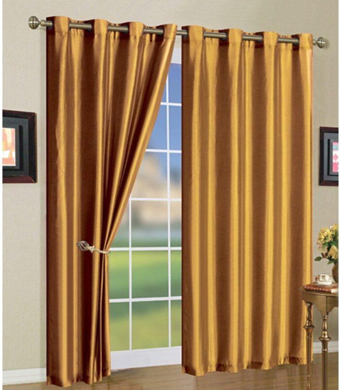 Golden Curtains Match Burgundy Walls