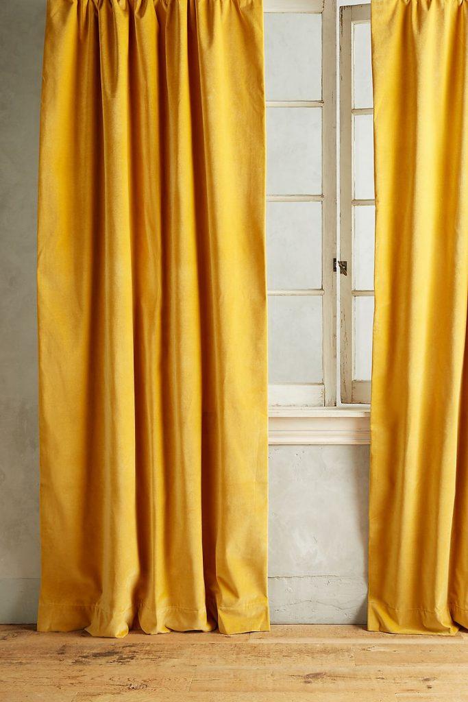 Golden Matte Velvet Curtain for orange interior
