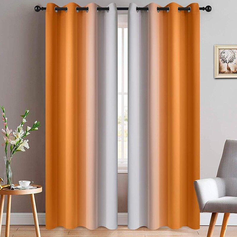 Gradient Color Curtains for orange color room interior