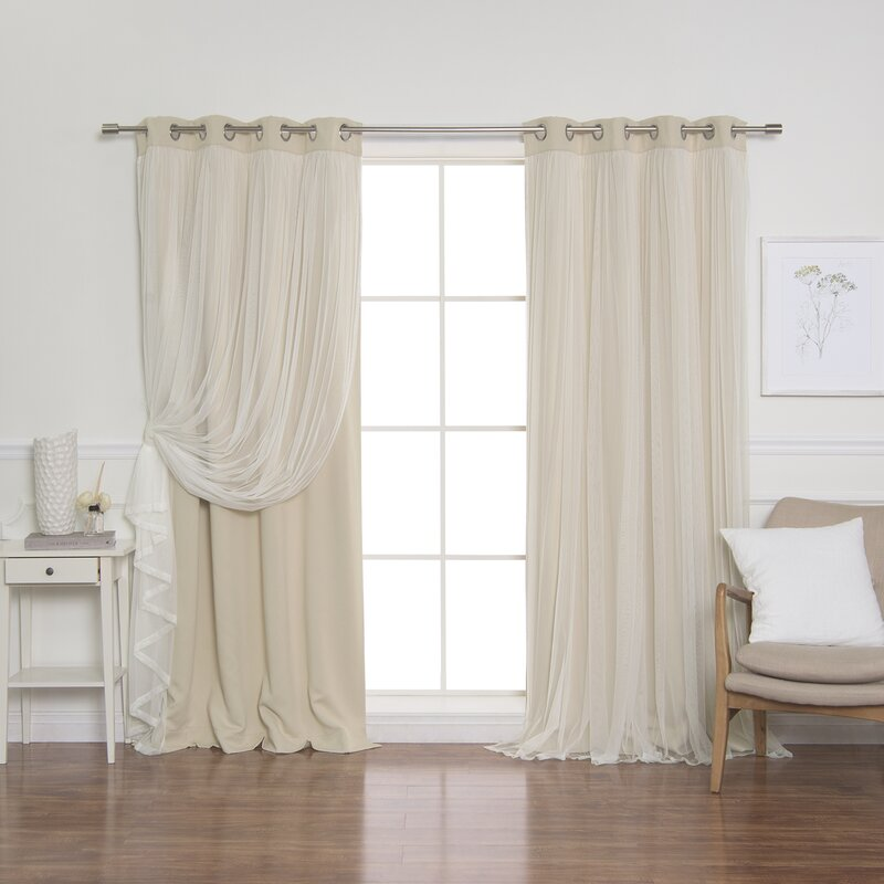 Neutral Fun curtains for purple painted wall