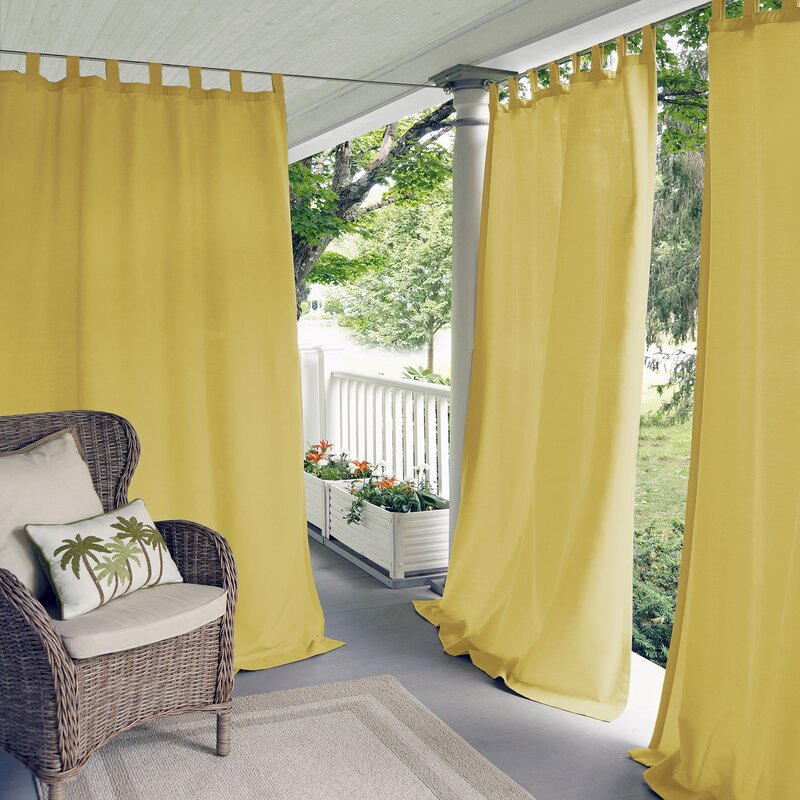 Pastel Yellow curtains for purple wall