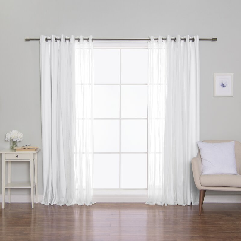 Sheer White Walls Curtain for wooden wall