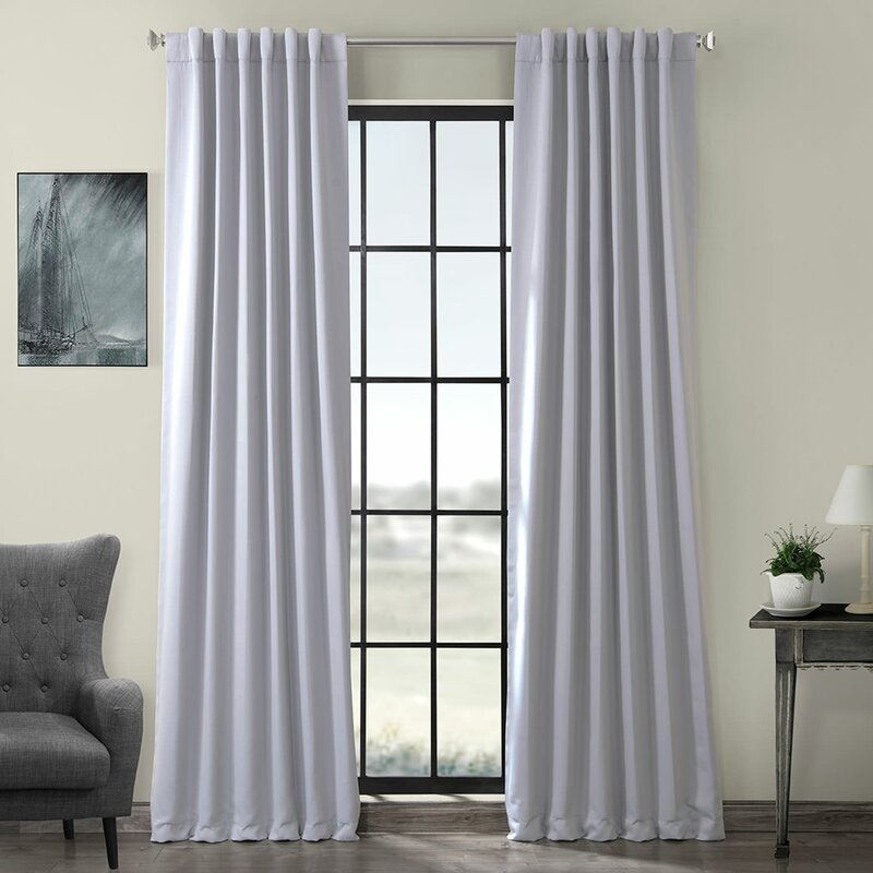 Smoke Grey curtains with wood interior room