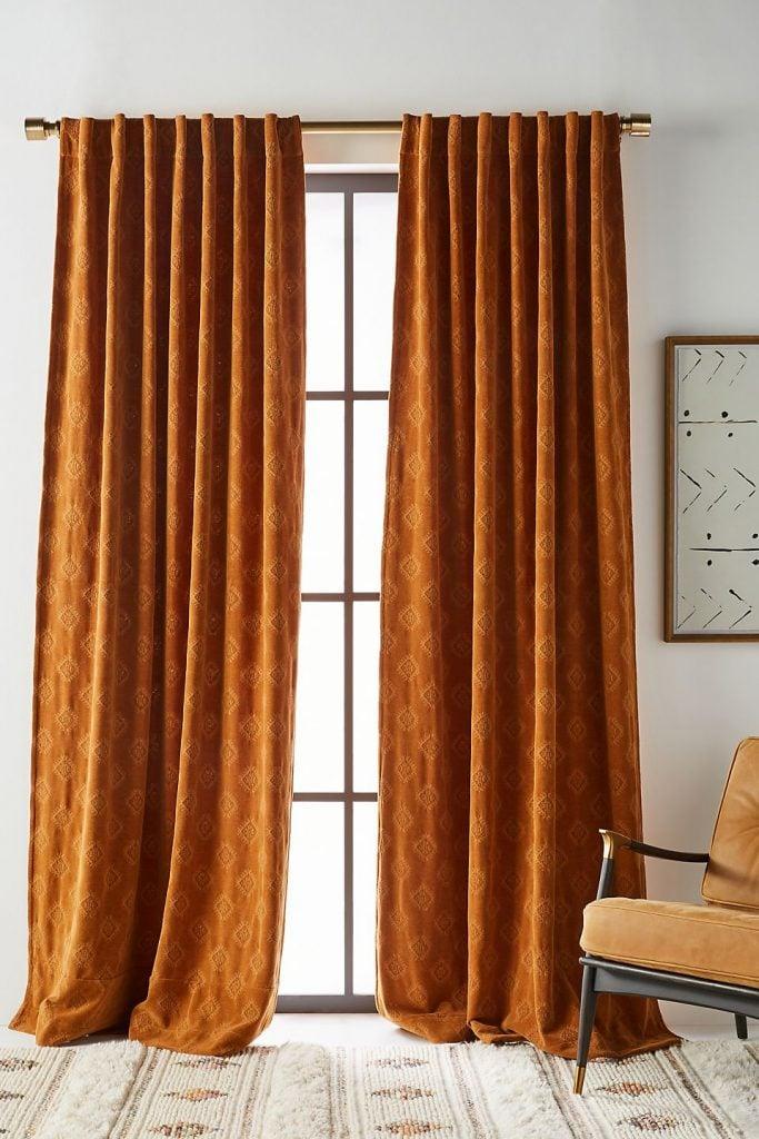 Spice Colored curtain for orange walls