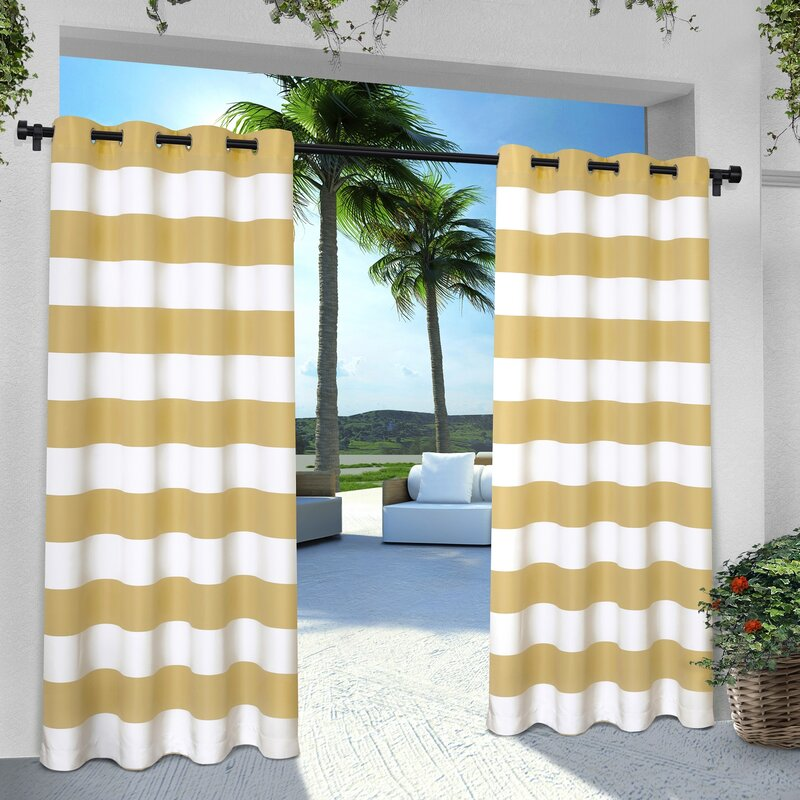Striped curtains for room with orange wall