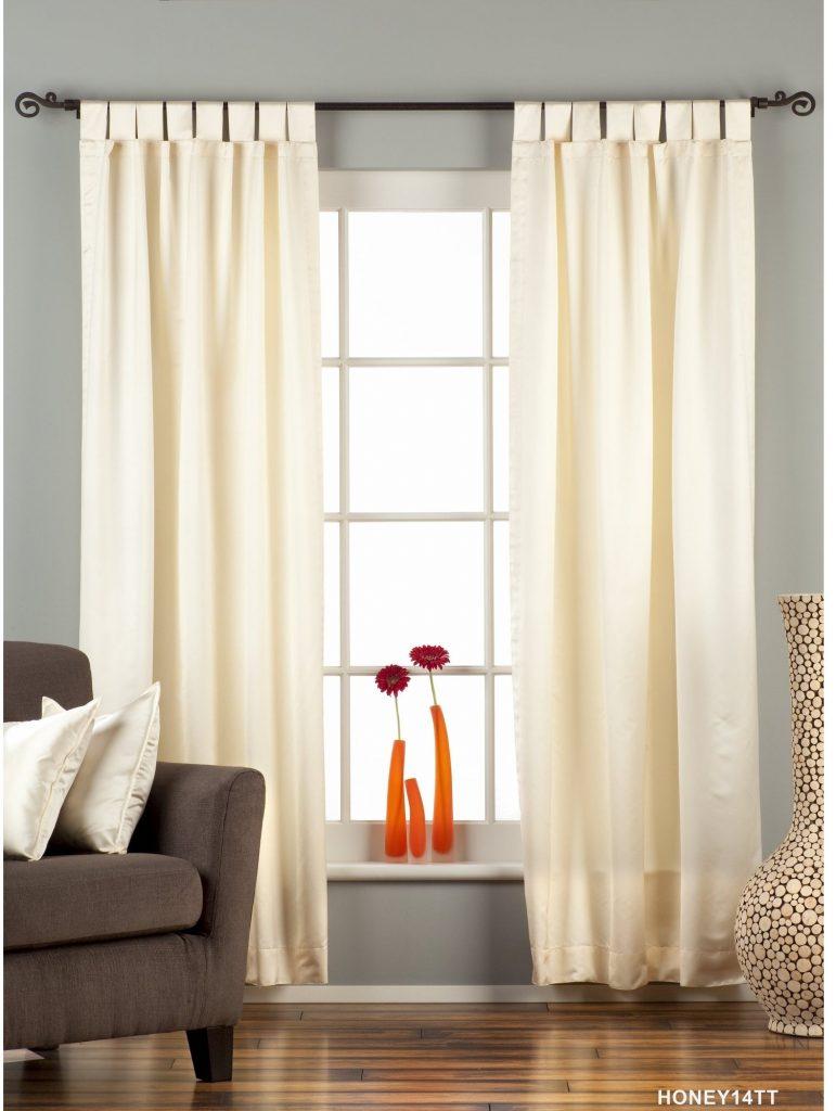 Walnut Cream curtains for wood walls