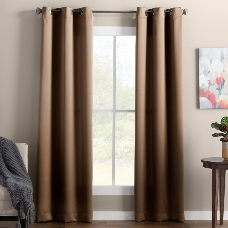 Wooden Brown Curtains for Purple Wall Room