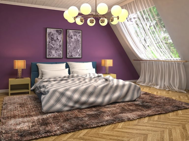 home with purple wall and white window curtains