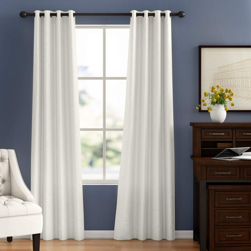 white color curtain for purple wall