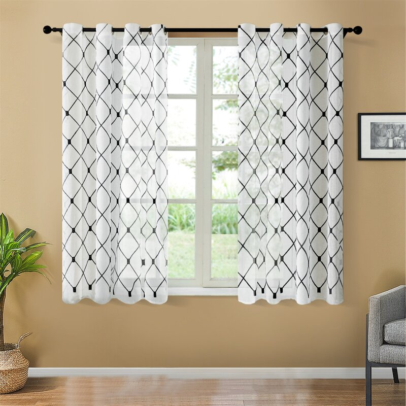 Black Geometric Patterned Semi-Sheer Curtains for cream wall