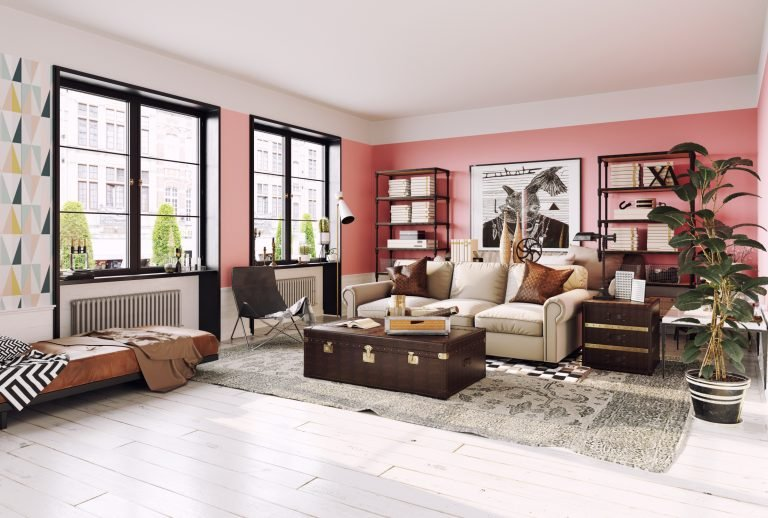 Modern Living Room in Coral Color Interior