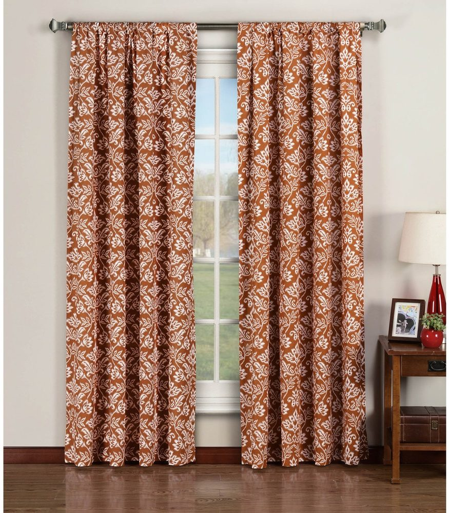 Rust Color Valencia Printed curtains for ivory walls