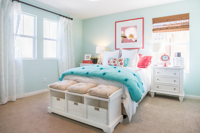Aqua Color bedroom with White Curtains