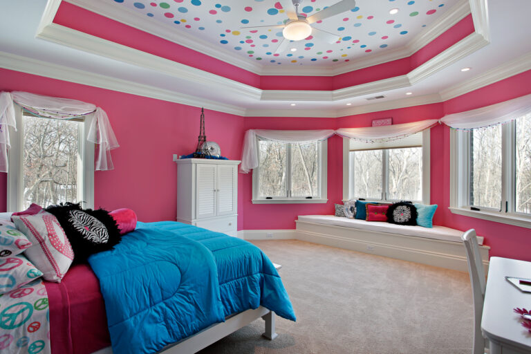 Room with Pink Walls with white curtains