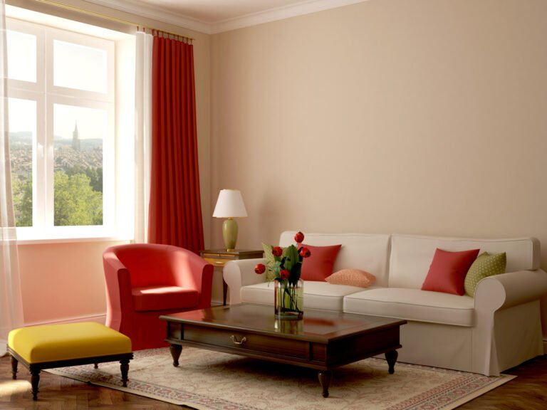Tan color room with red curtain